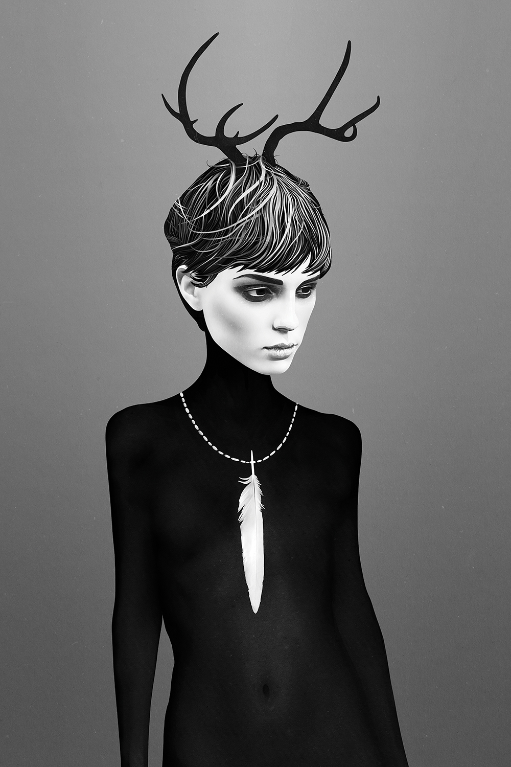 a woman shadowed in black wearing antlers in her hair and a long white feather around her neck