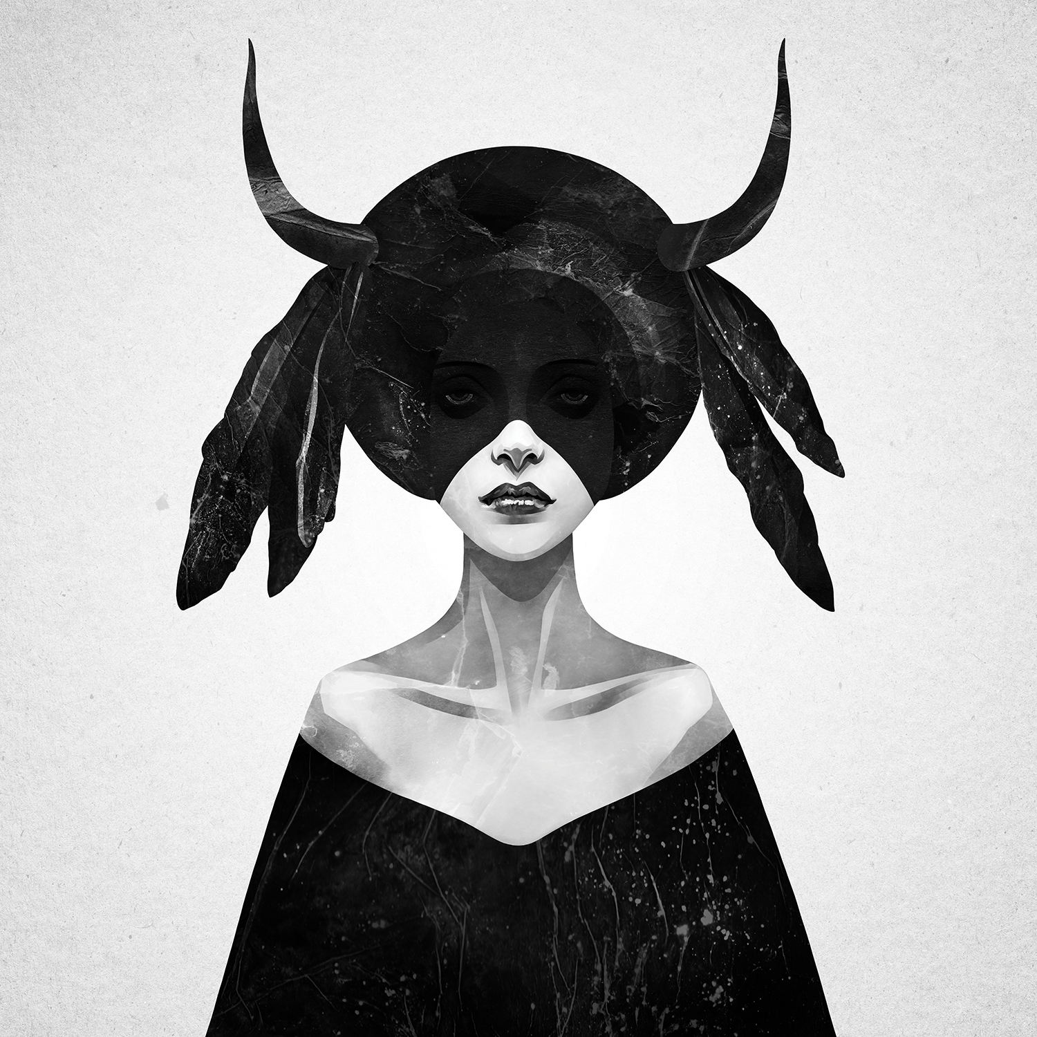 a woman whose face is mostly shadowed in black wearing a headpiece that has antlers and feathers