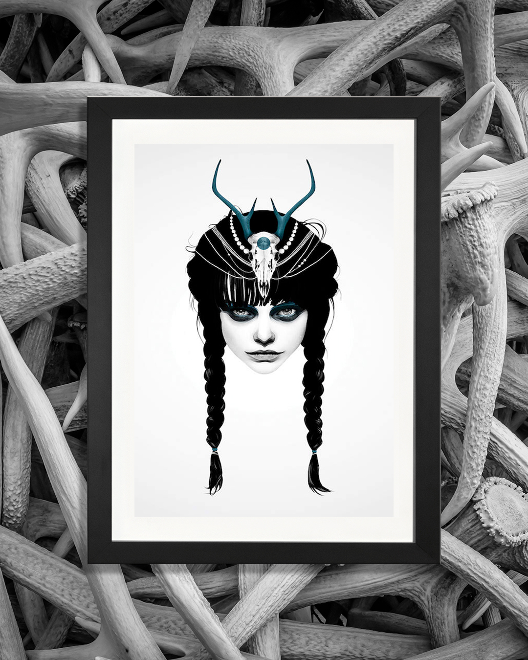 portrait of a girl wearing braids in her hair with an animal skull headpiece with blue antlers