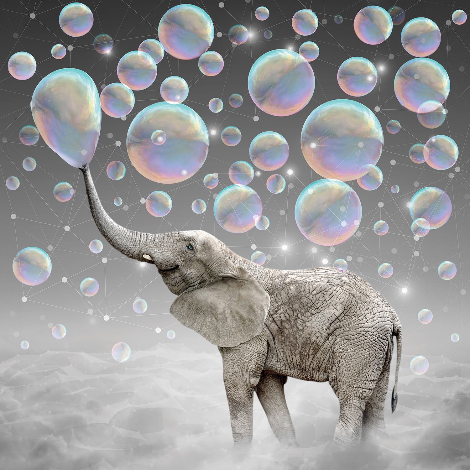 an elephant with blue eyes standing on a cloud blowing bubbles with its trunk
