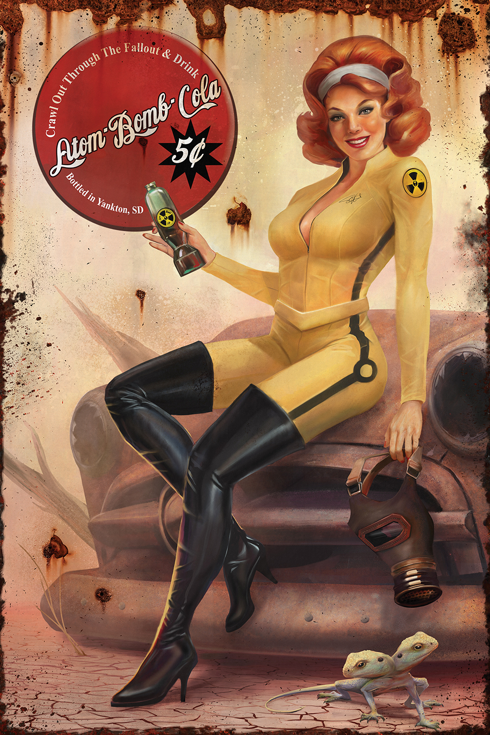 A woman with red hair in yellow jumpsuit and thigh-high boots holding a gas mask sitting on a broken car holding a bottle of atom bomb cola