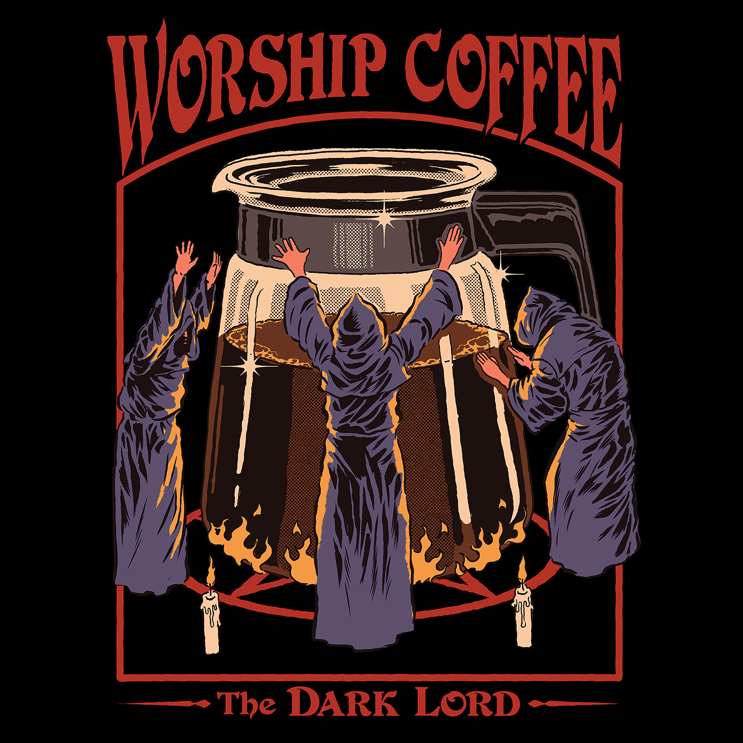 "three cloaked individuals praising a giant pot of coffee, aka ""the dark lord"""