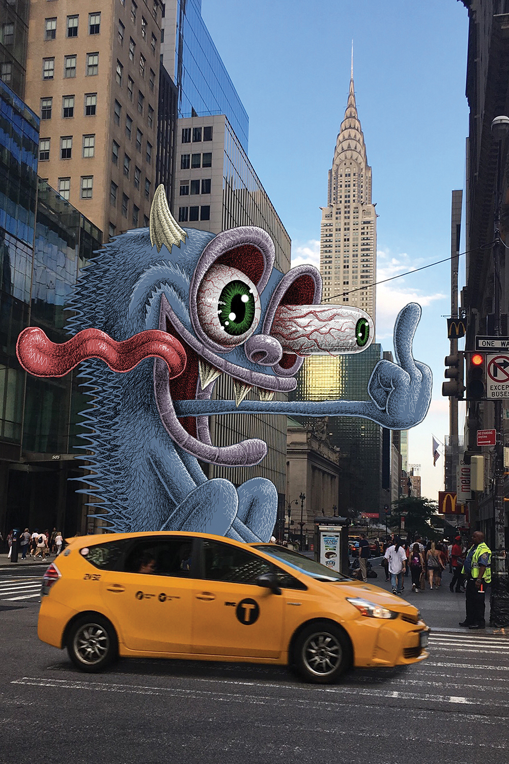 a giant monster giving the middle finger with its tongue out while driving a taxi cab in new york