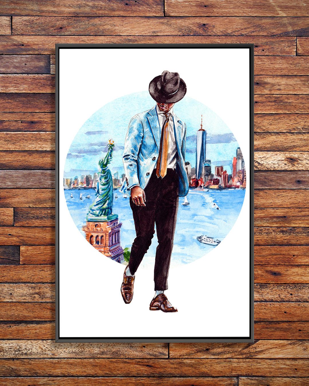 a nicely dressed man wearing a gold tie and hat walking with new york city and statue of liberty in background