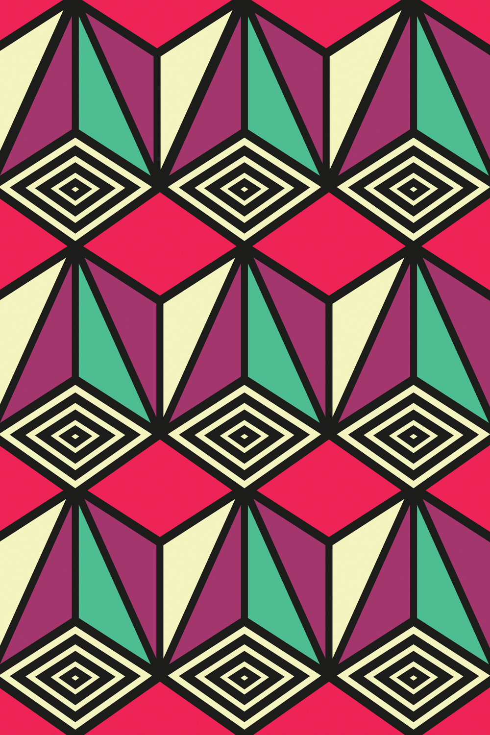 a geometric symmetrical pattern featuring purple, green, pink, yellow and black