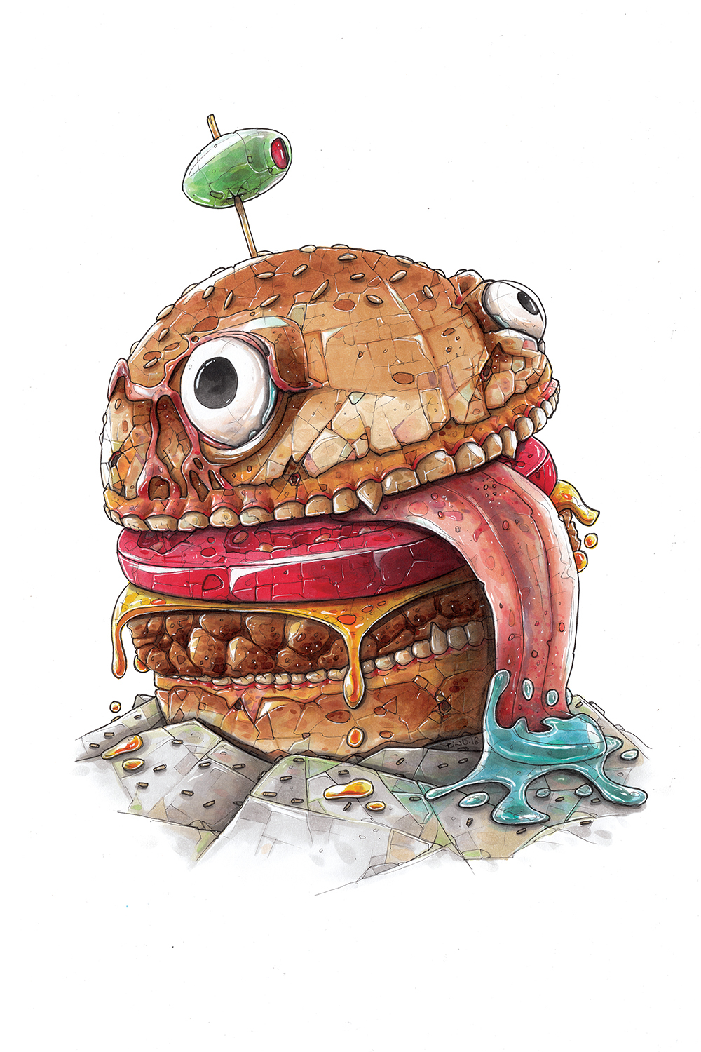 a burger with its tongue out from the game fortnite