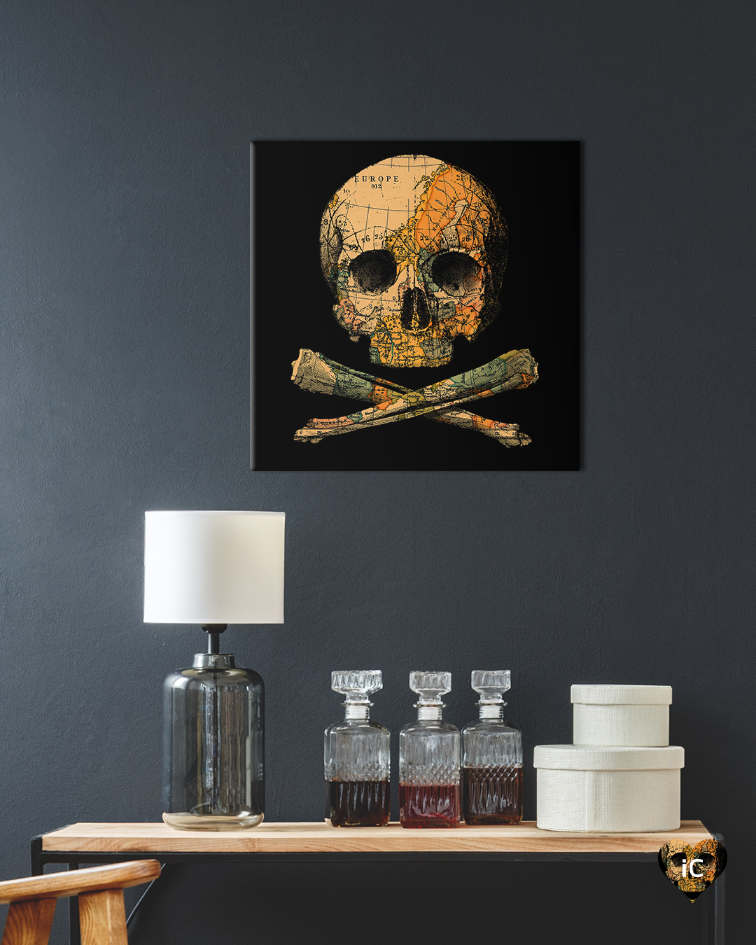 a black print with a skull and crossbones that have a treasure map design