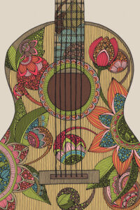 drawing of an acoustic guitar with detailed flowers and leaves