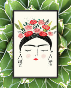 a minimalist portrait of Frida with red and pink flowers in her hair