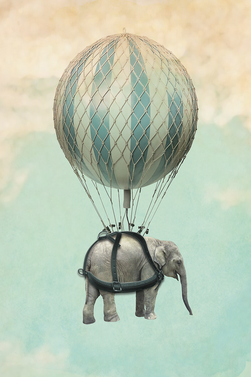 an elephant wearing a harness connected to a large balloon that's floating in the sky