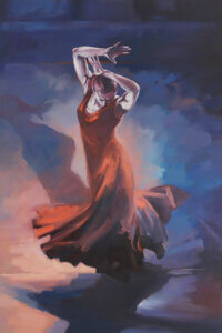 a woman in a red dress dancing with her hands above her head