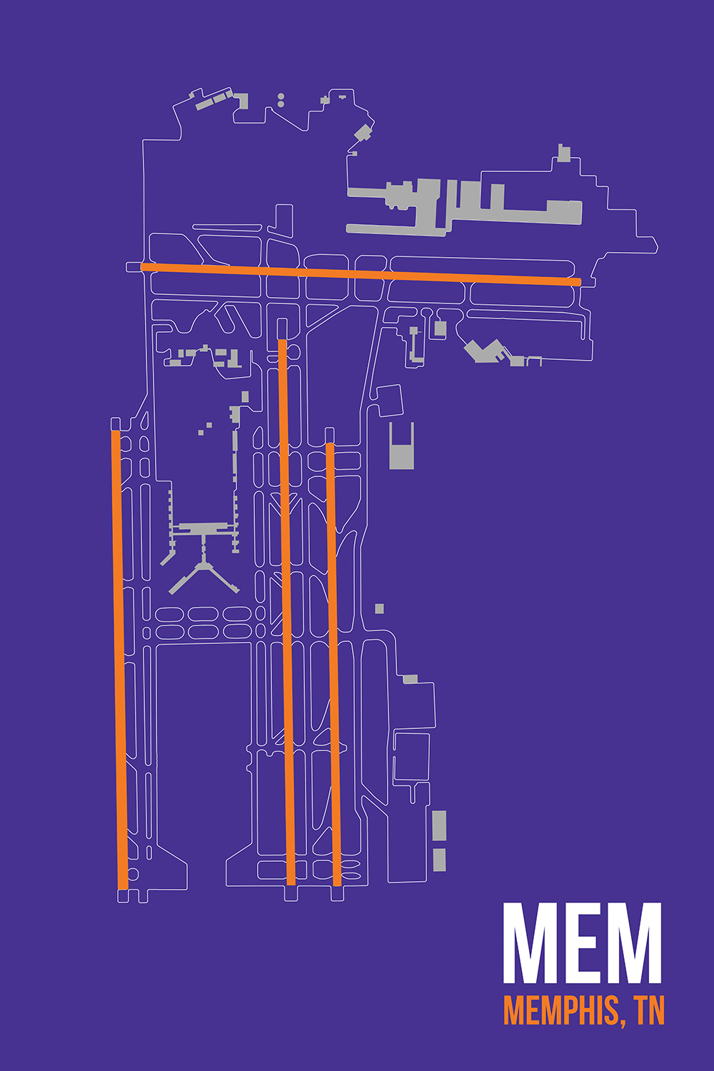 Minimalist line diagram of Memphis airport on a purple background with white and orange text
