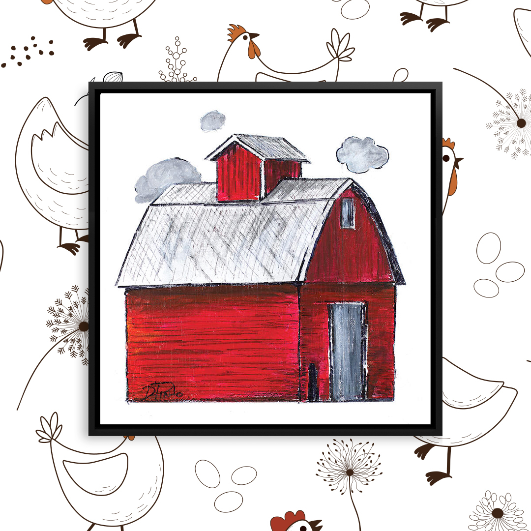 Illustration of a red barn with gray clouds and a gray door