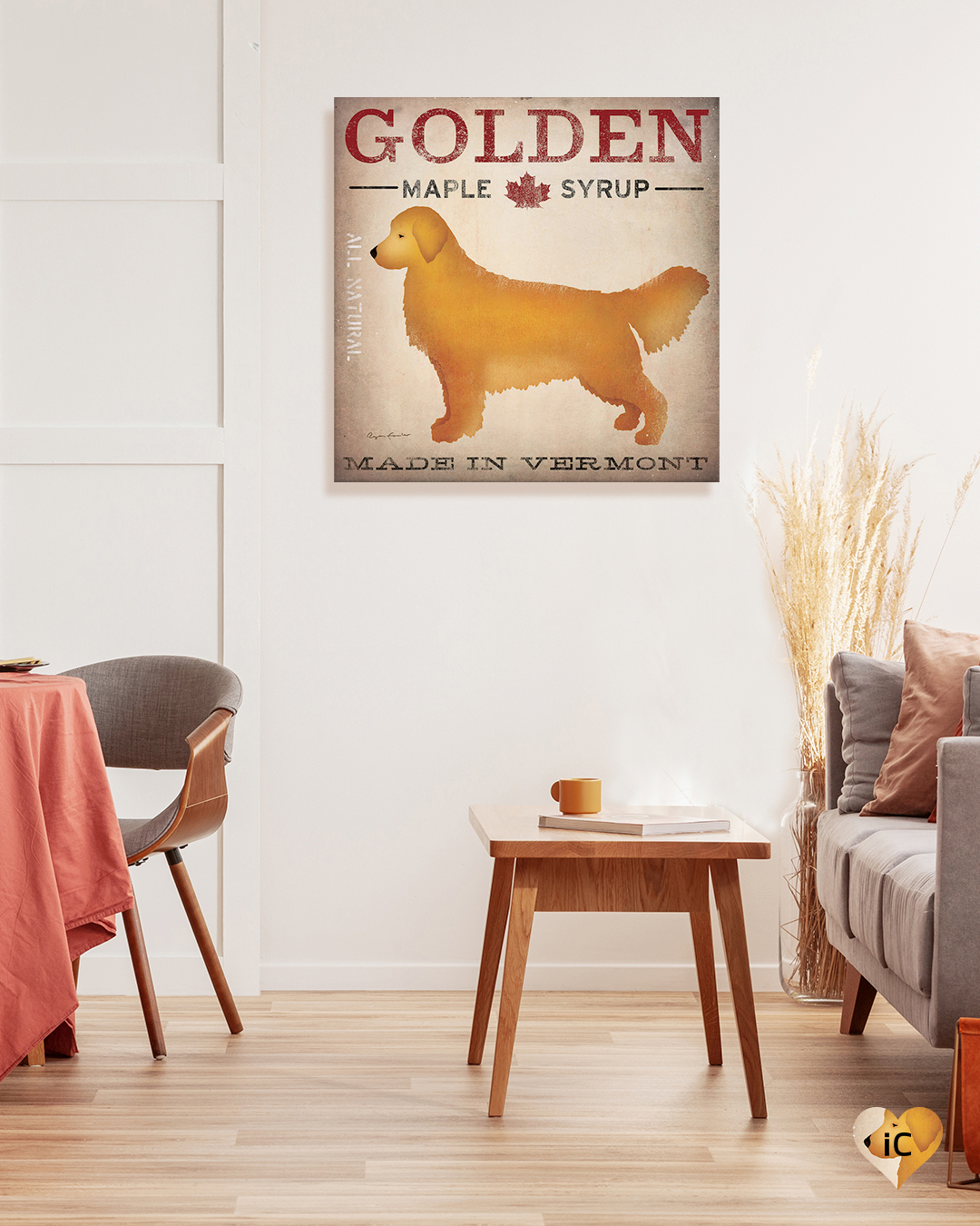 Sign featuring golden retriever as a logo for maple syrup made in Vermont