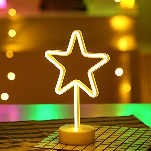 Star shaped neon light stand for home
