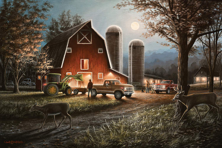 Painting of a red barn on a farm at night with men in pickup trucks and deer walking in yard