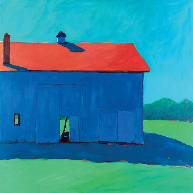 Minimalist painting of blue barn with red roof on green grass under a blue sky