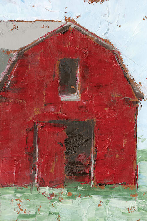 Textured painting of large red barn with door open on green grass