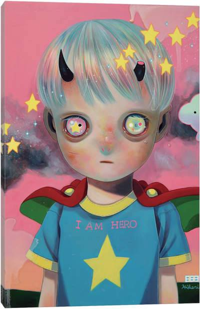 Creepy kid with horns wearing a cape and t-shirt surrounded by stars on a pink background