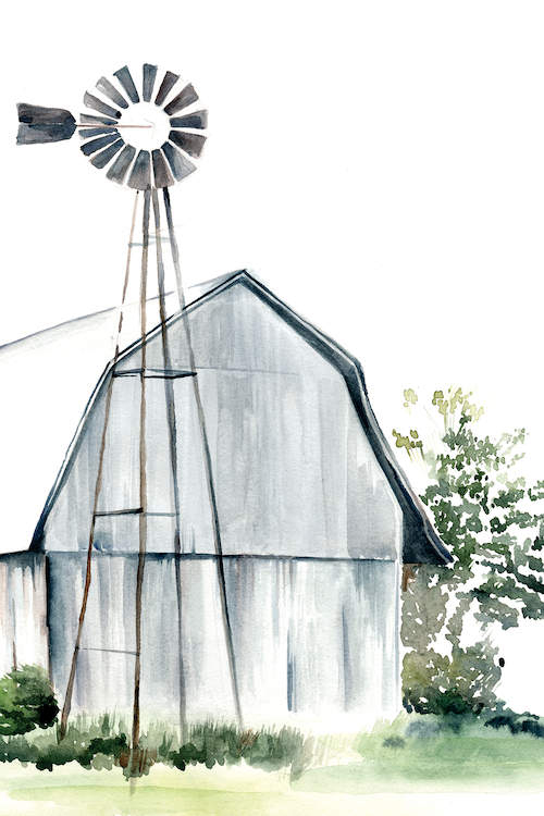 Watercolor painting of gray barn on green grass with a tall weather vane in front