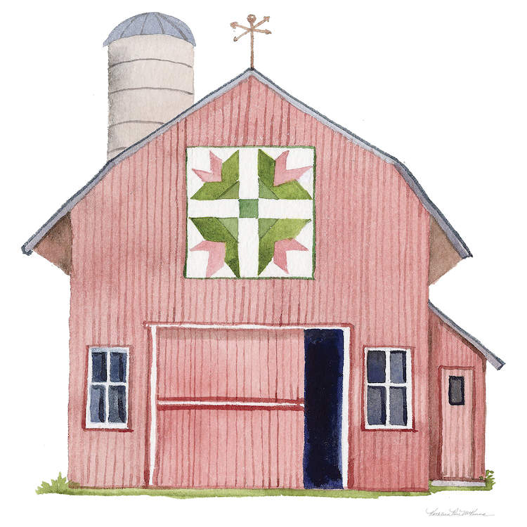 Illustration of a pink barn with green and pink barn quilt on front