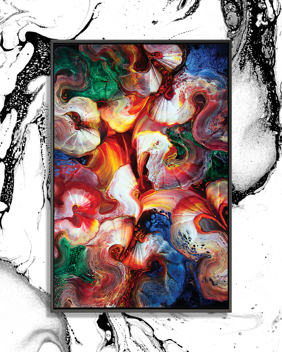 Colorful abstract image with shapes resembling geodes in red, yellow, green, blue, black and white