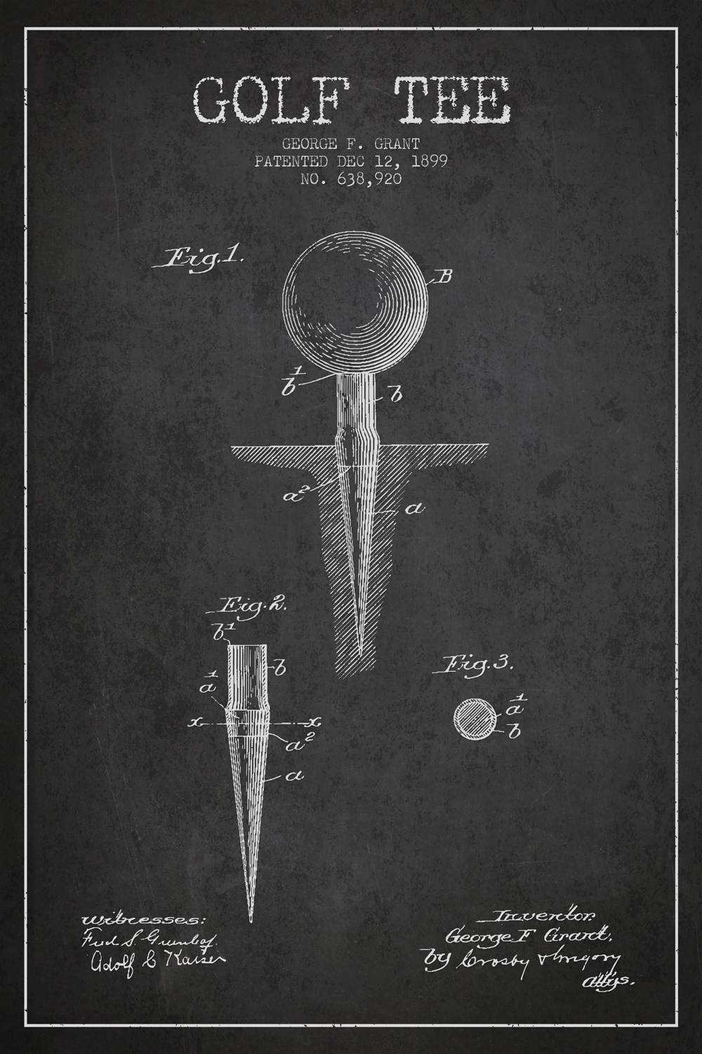 a chalkboard-style patent for the golf tee