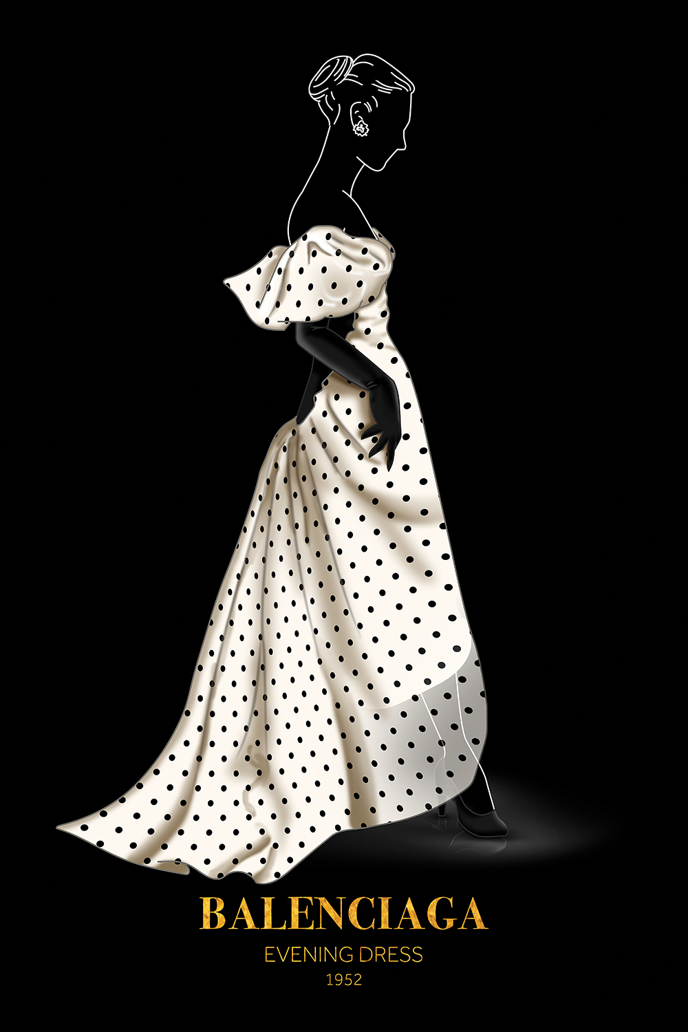 Illustration of a woman wearing a white polka dot Balenciaga gown on a black background