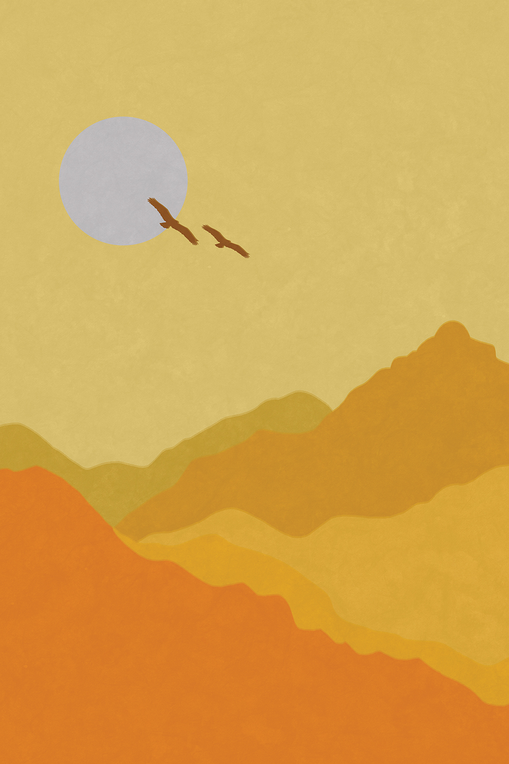 Graphic of yellow-toned mountain landscape with two birds flying in front of the sun