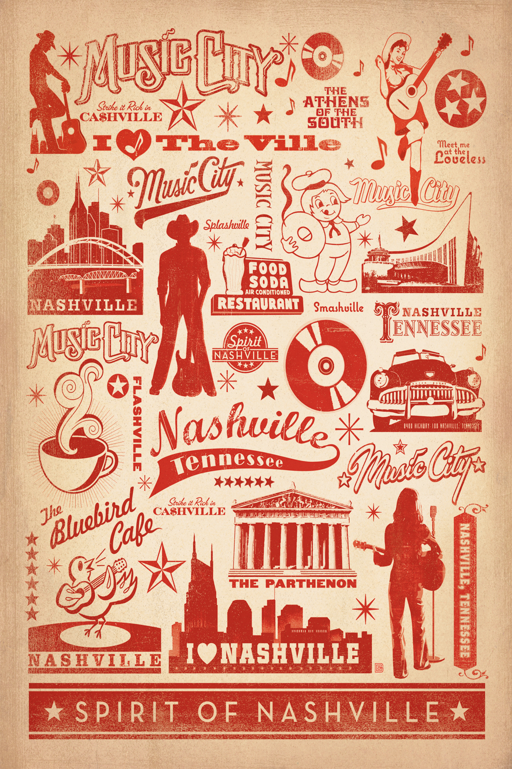 Graphic of Nashville-related music icons and symbols in red on a beige background