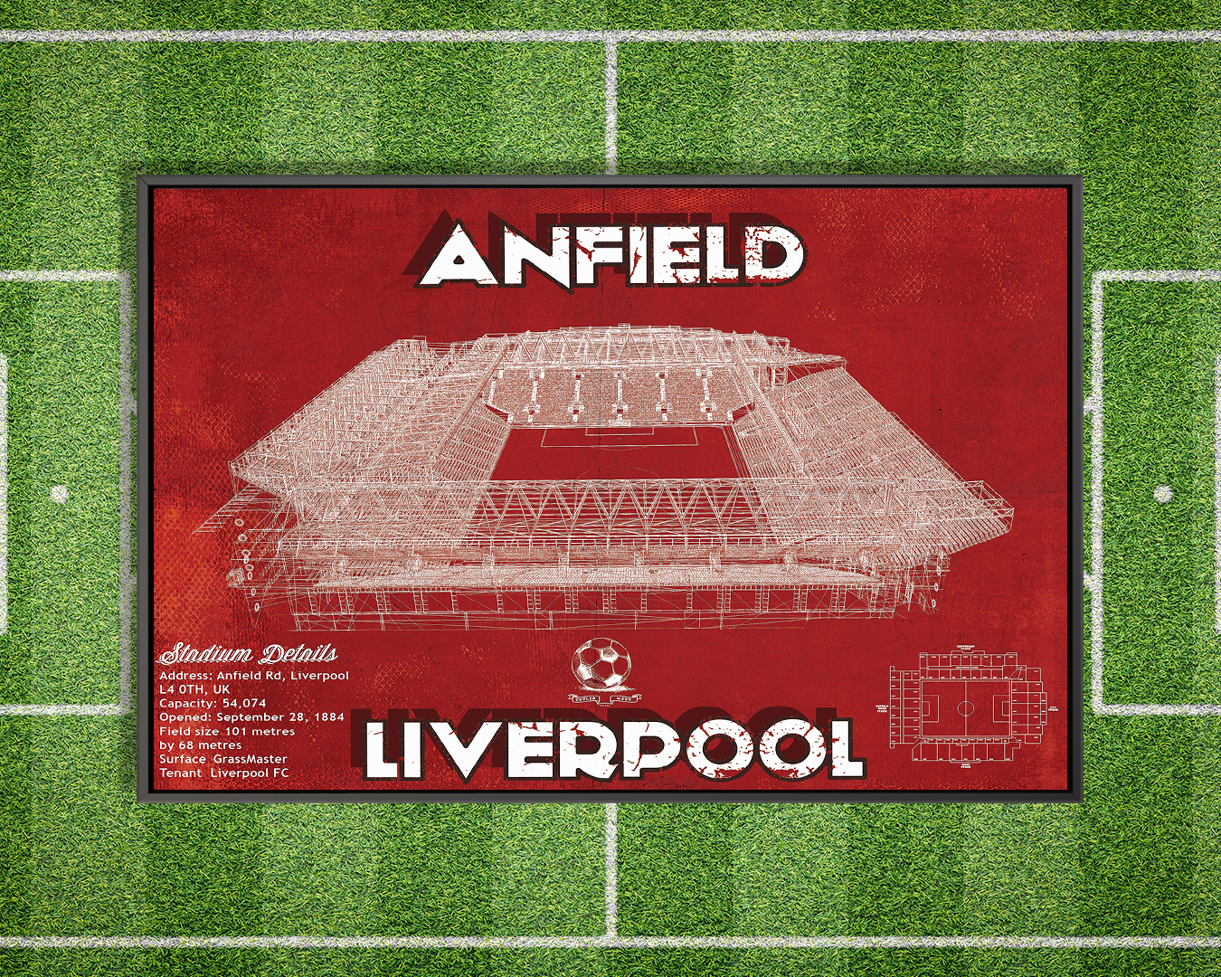 Red blueprint of Anfield stadium in Liverpool with stadium details on the bottom