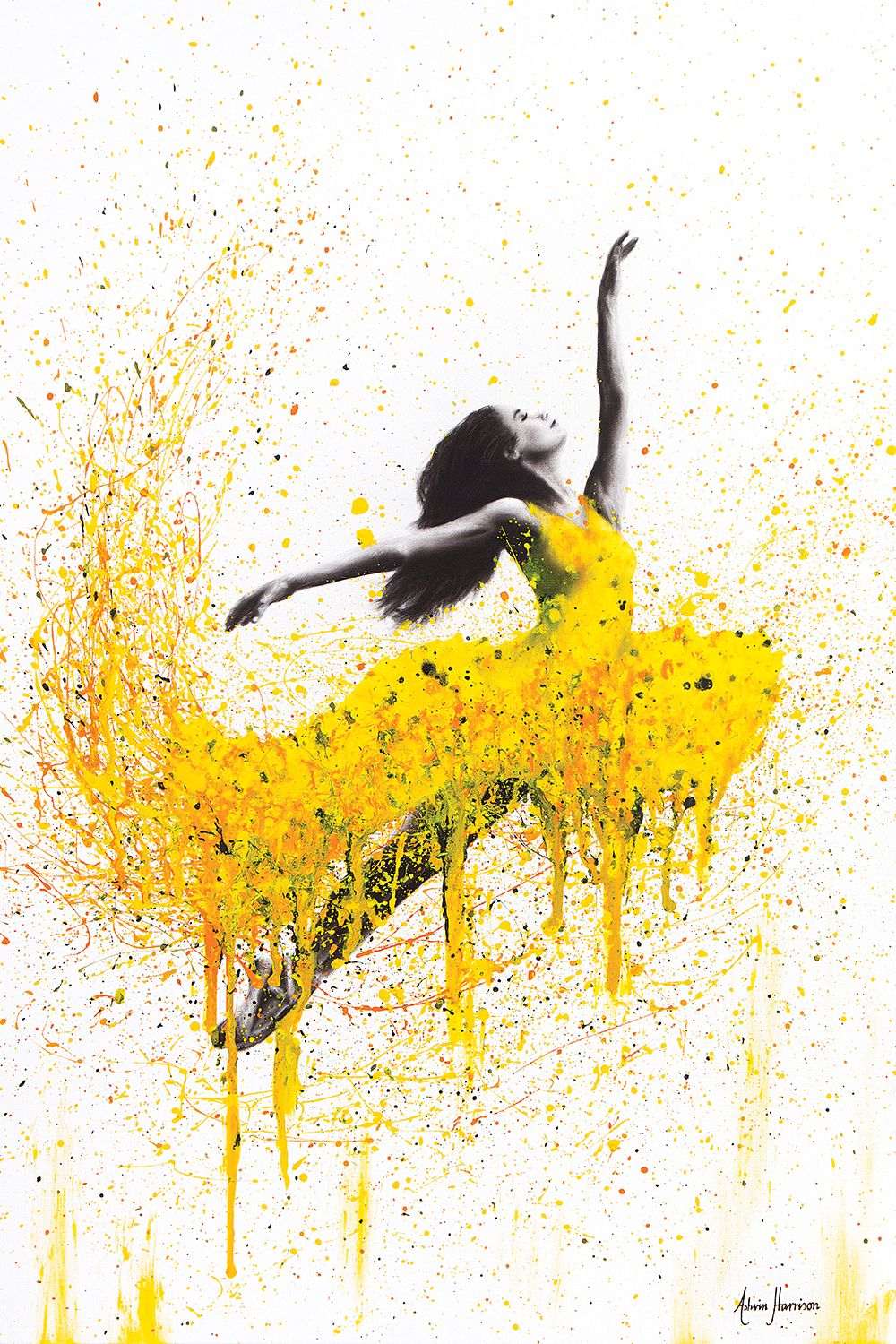Female dancing in yellow splattered dress on a white background