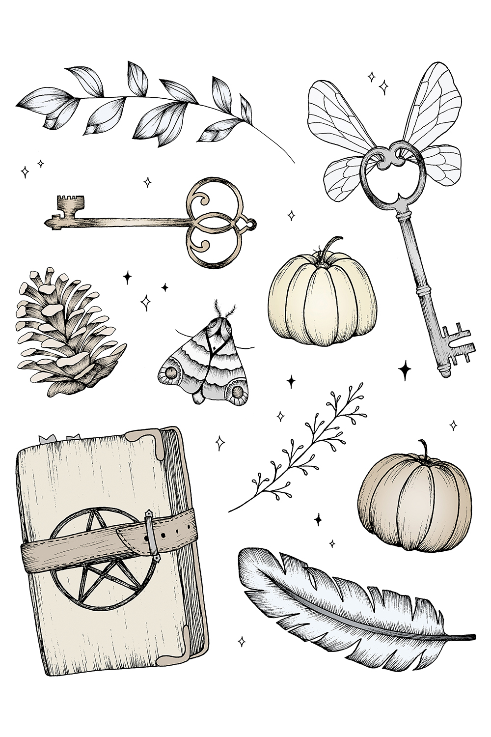 Illustrations of magic items such as a spell book, feather, pumpkin, moth, pine cone, and flying key