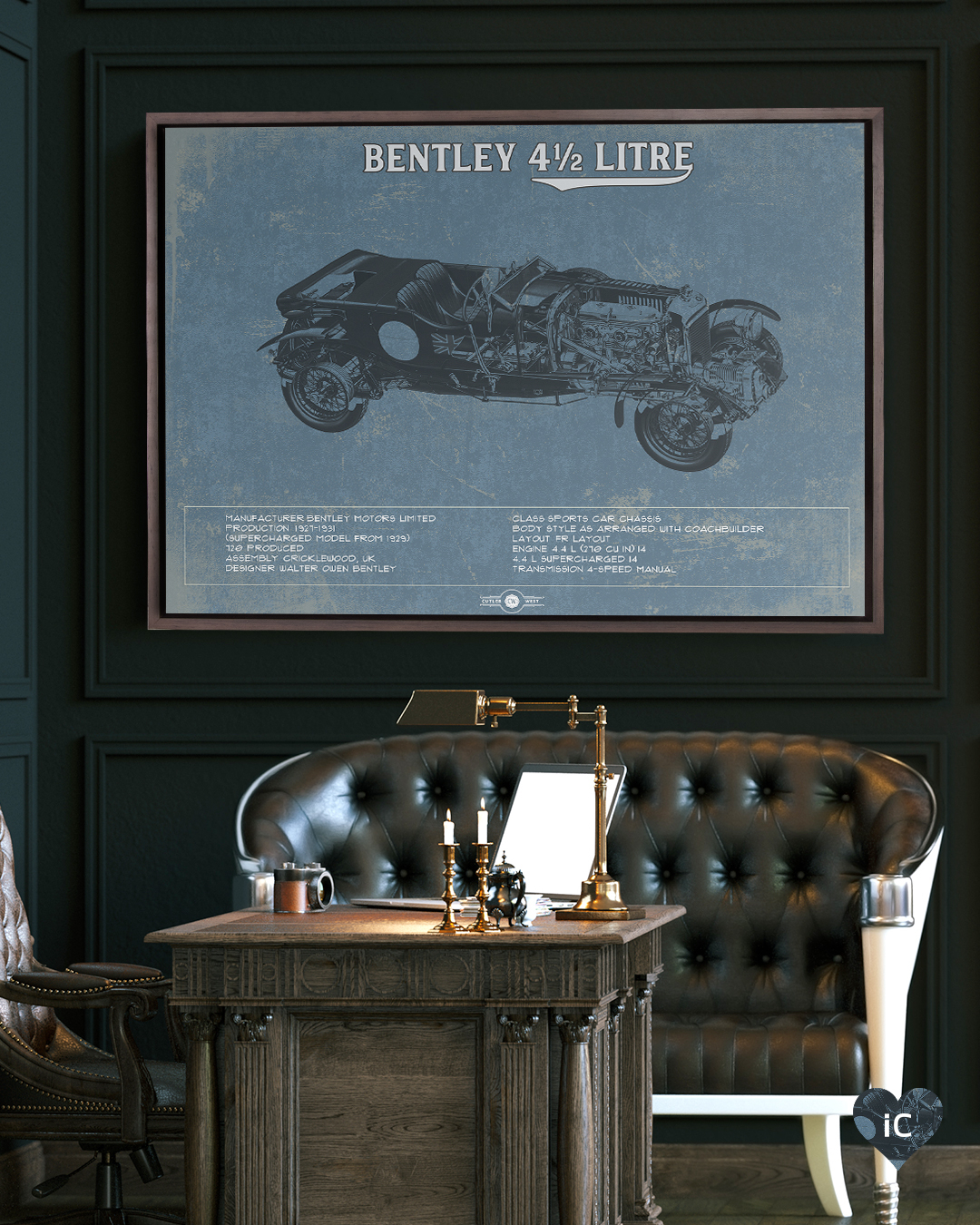 Blueprint of vintage Bentley with facts on the bottom