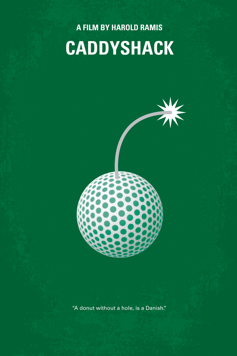 a minimal style movie poster for Caddyshack with a golf ball with a fuse on a green background