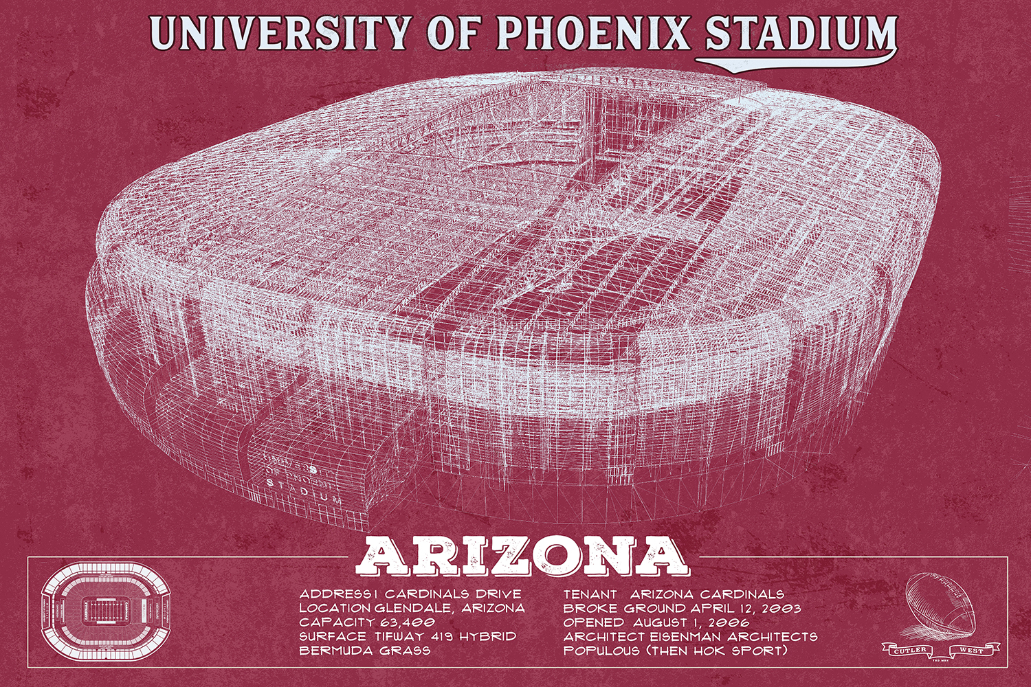 Red blueprint of university of phoenix stadium in Arizona with facts at the bottom