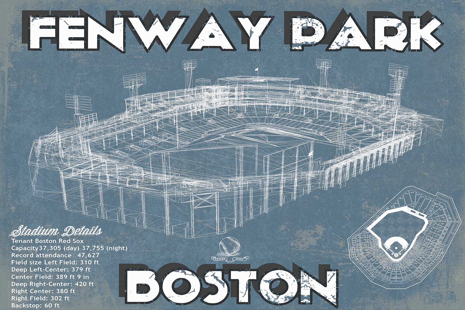 Blueprint of Fenway Park in Boston with white drawing and stadium details on the bottom