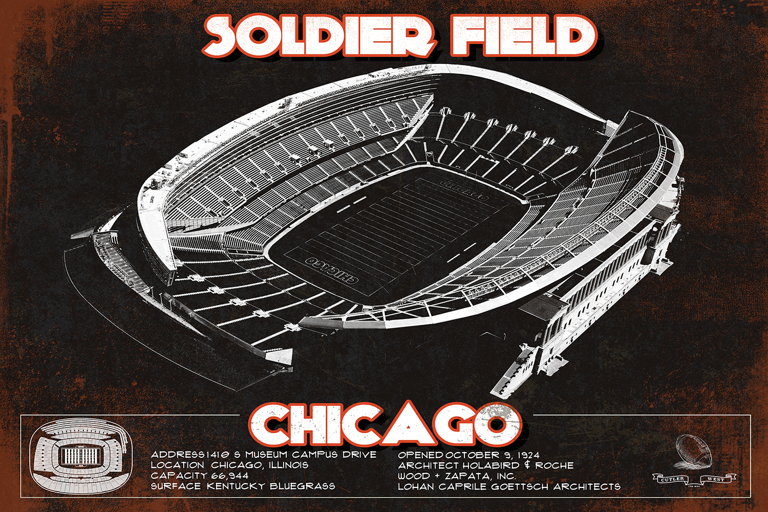 Black blueprint with reddish borders of Soldier Field stadium in Chicago with facts at the bottom