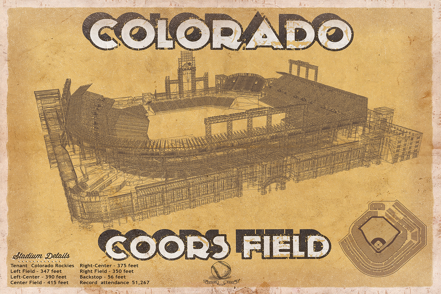 Beige blueprint of Coors Field stadium with stadium details at the bottom
