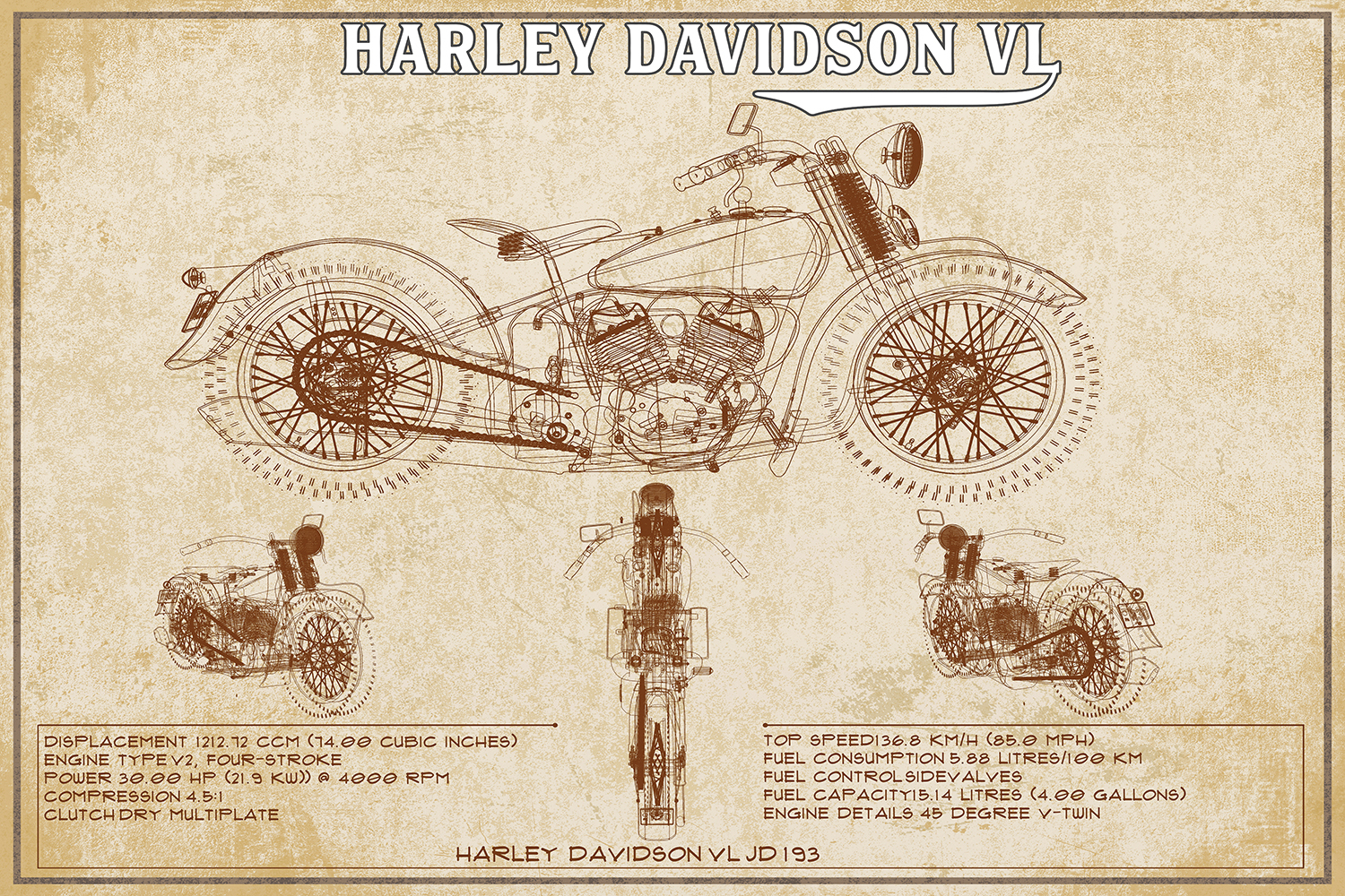 Beige blueprint of a Harley Davidson motorcycle with facts on the bottom