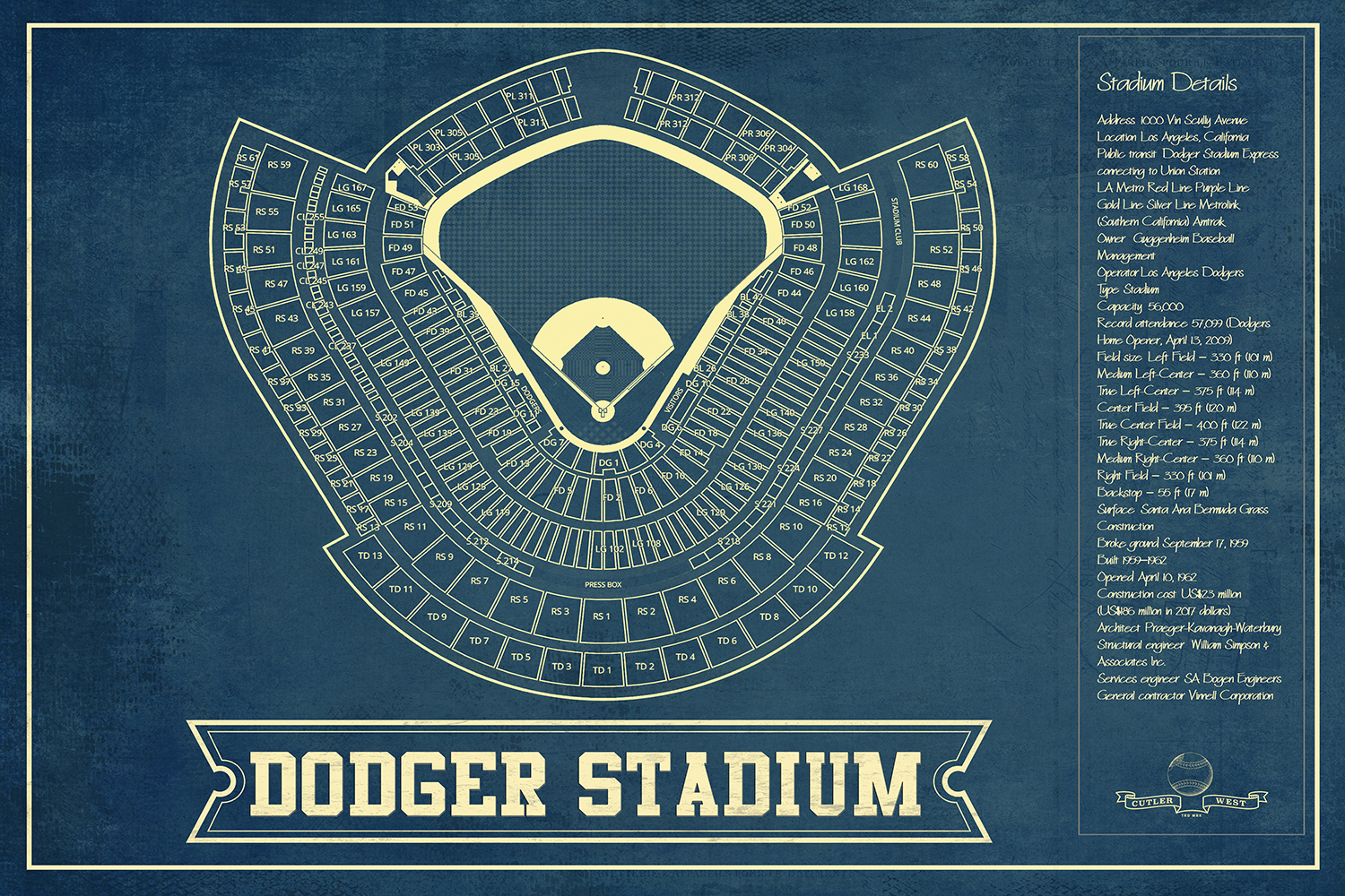 Blueprint of Dodger Stadium with stadium details on the right side