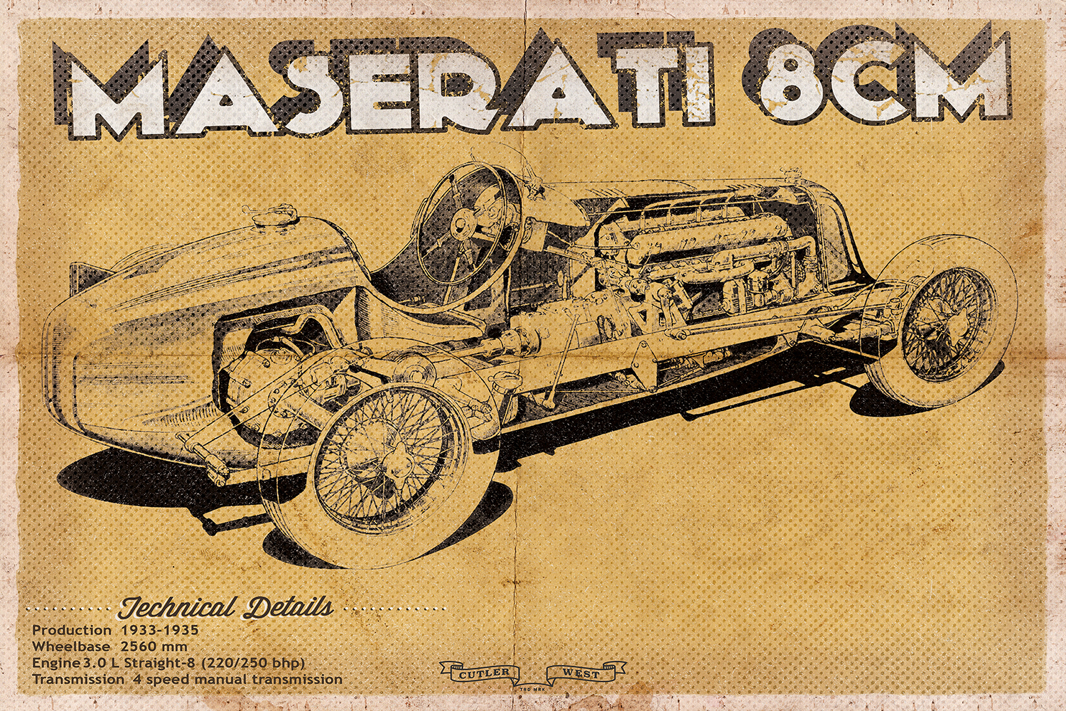 Beige blueprint of a vintage Maserati with technical details on the bottom