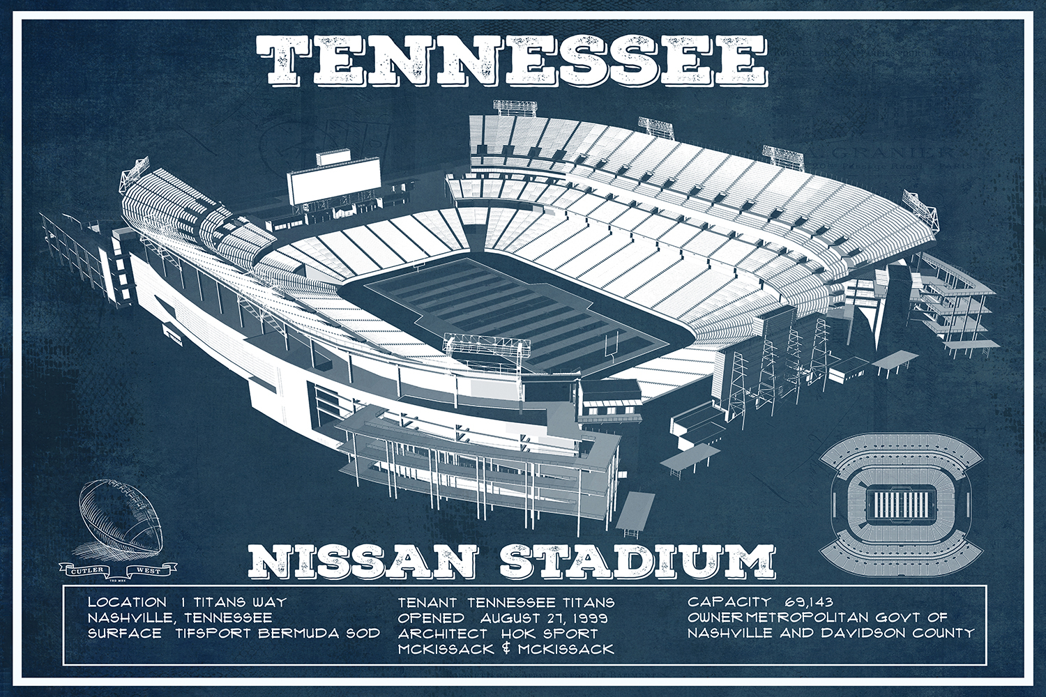 Blueprint of Nissan Stadium in Tennessee with white text and facts listed on the bottom