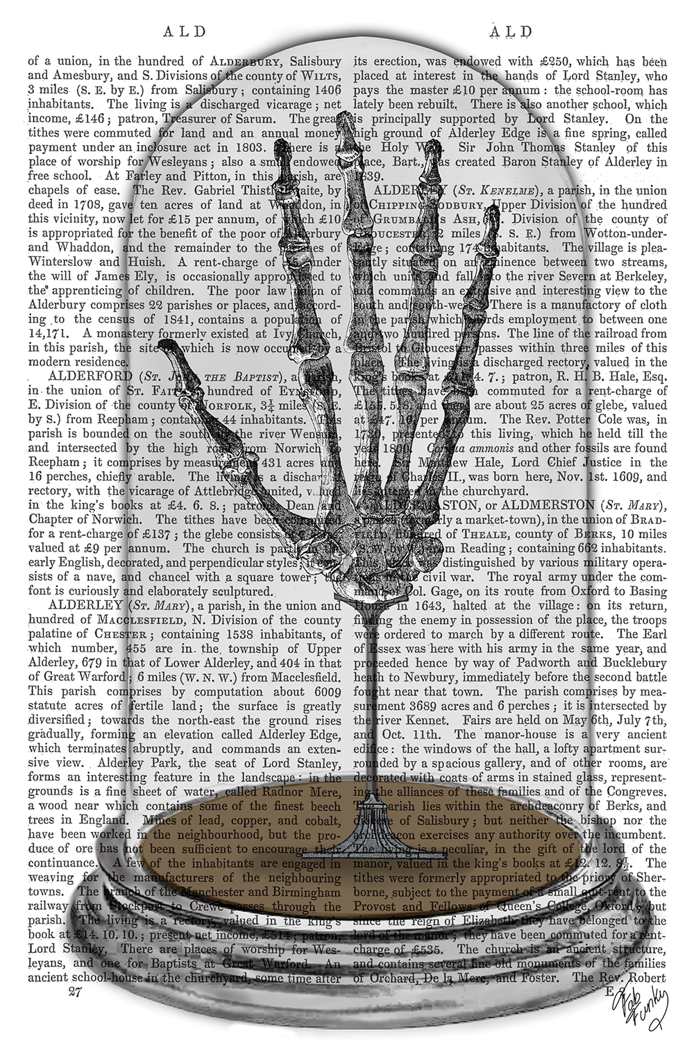 Skeleton hand in a bell jar over a text background