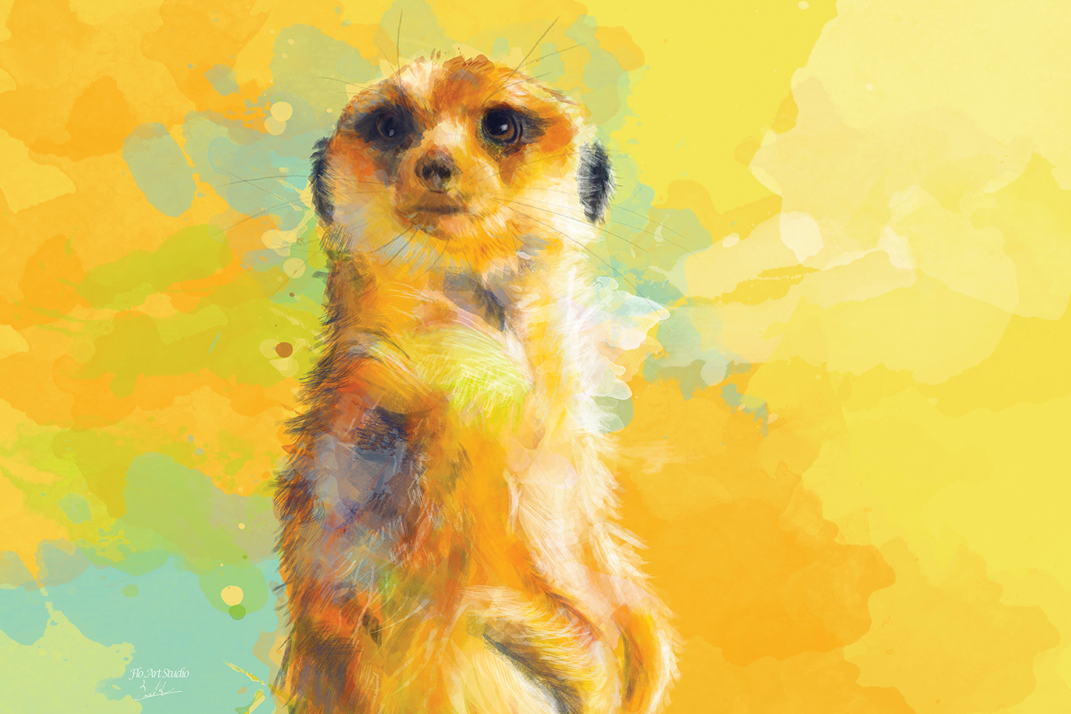 Meerkat standing against a yellow background