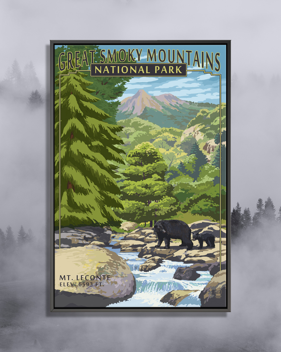 Graphic of adult and baby black bear near a stream with rocks surrounded by forest trees with mountains in the background and text that says Great Smoky Mountains National Park