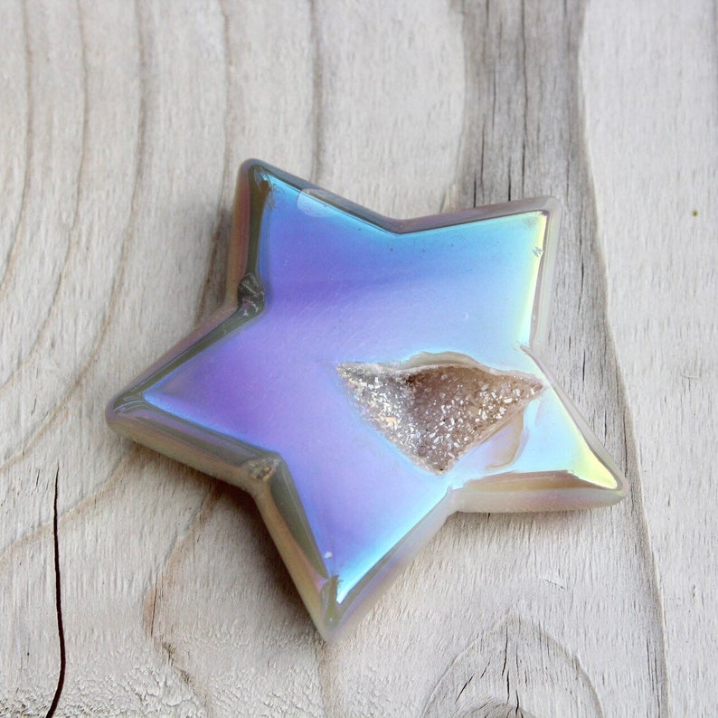 Iridescent agate geode star