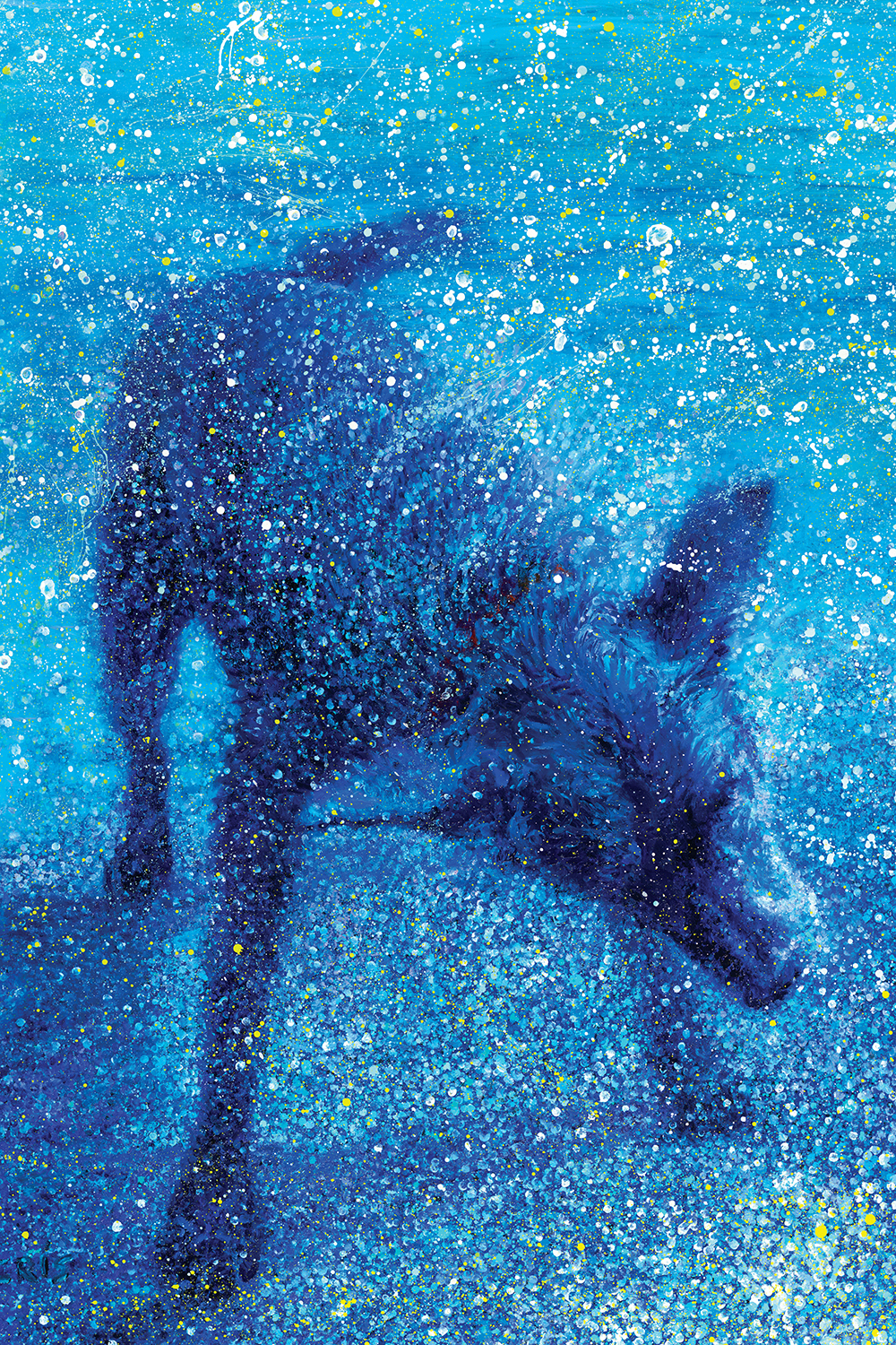 Image of dog shaking water off into tiny splattered dots on a blue background