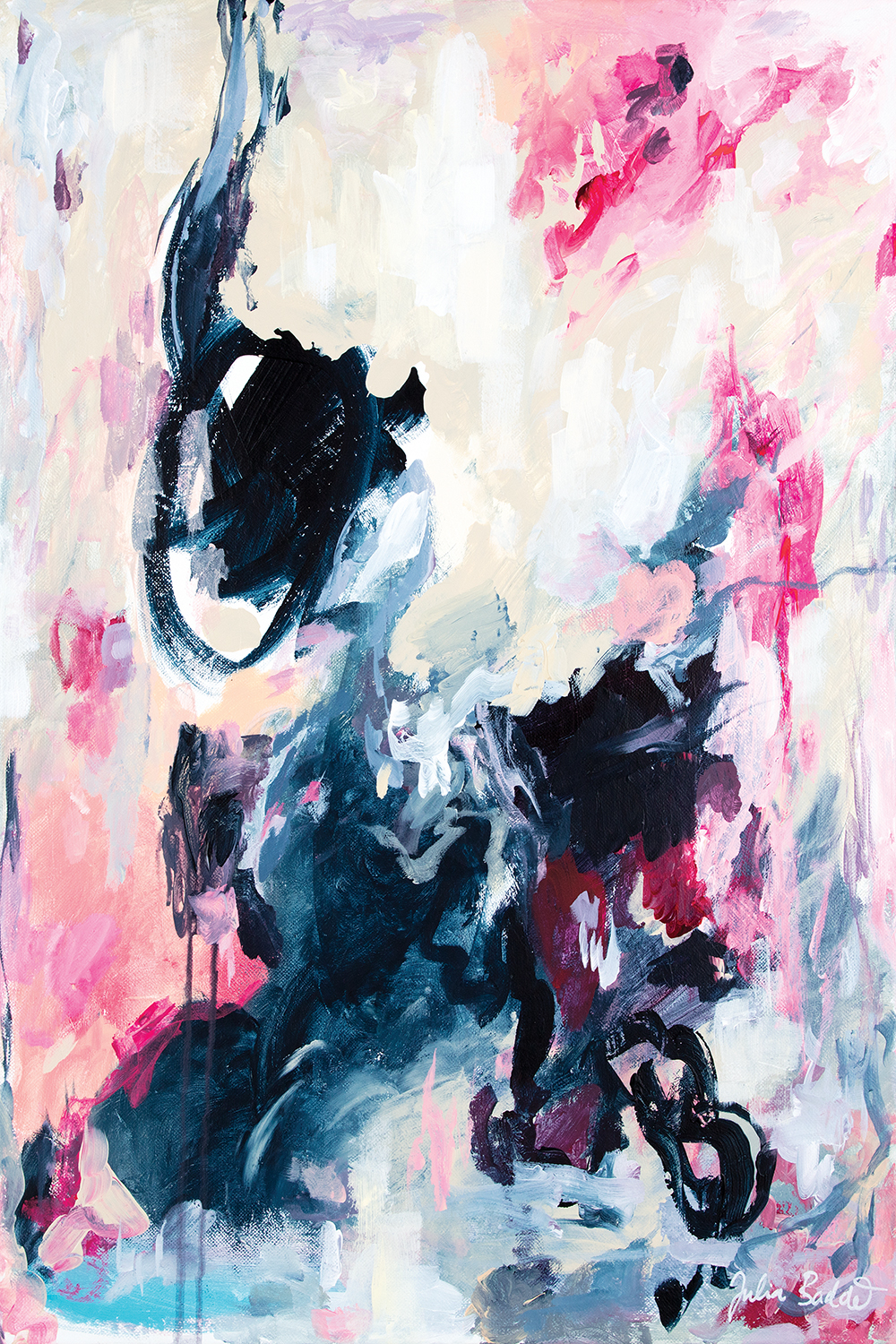 Abstract image of colors like dark teal, black, light pink, light blue, gray, beige and white