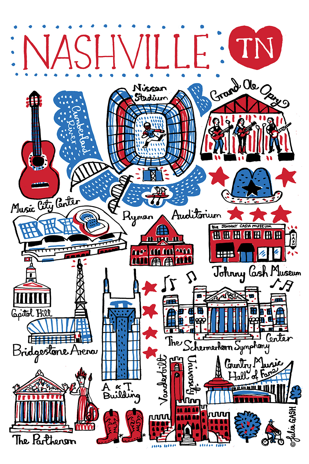 Illustration of symbols and landmarks from Nashville in red and blue on a white background